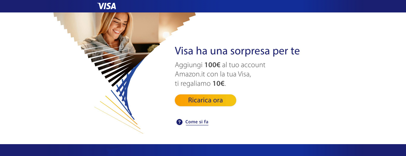 Amazon regala 10€ a chi ha una Visa